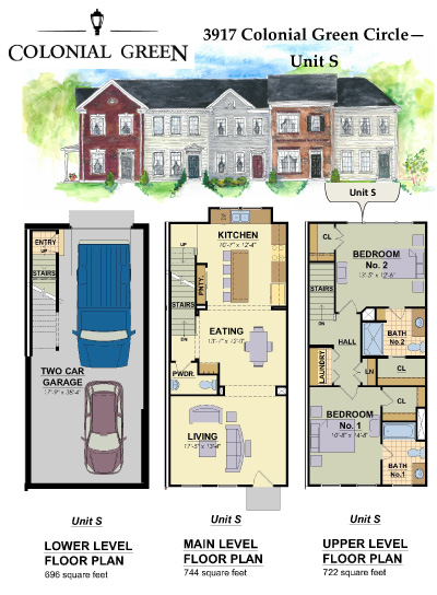 Roanoke townhouses lots gc02 4 colonial green for 4 unit townhouse plans